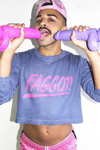 Faggot Long Sleeve Crop Thermal- Blue