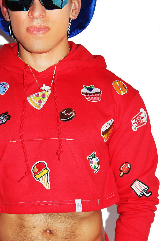 Fast Food Crop Hoodie-Red