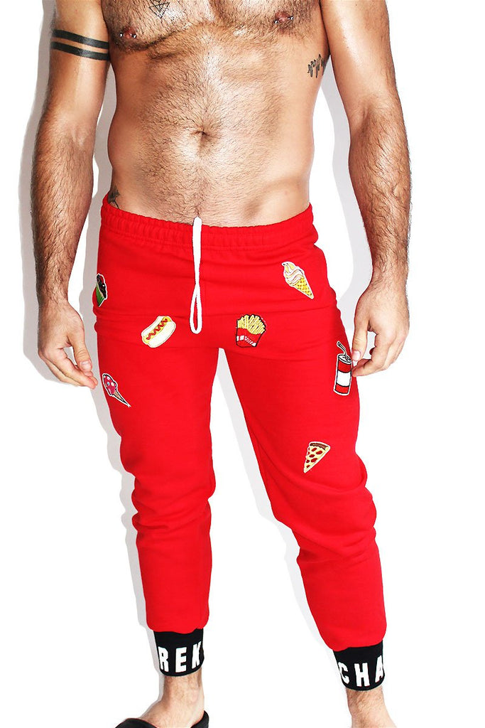 Fast Food Sweat Pants-Red