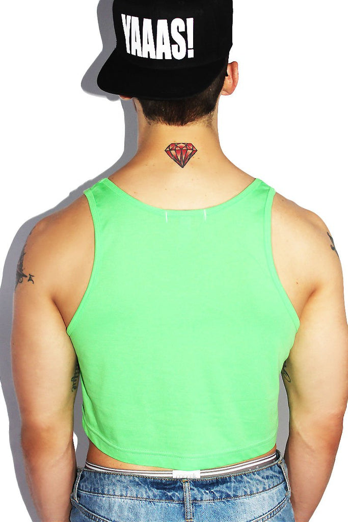 Feeling My Oats Crop Racerback Tank- Neon Green