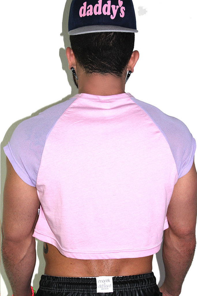 Femazing Glitter Raglan Crop- Pink