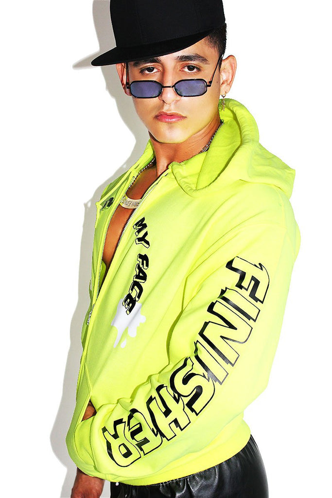 Finish On My Face Full Zip Hoodie- Neon Yellow