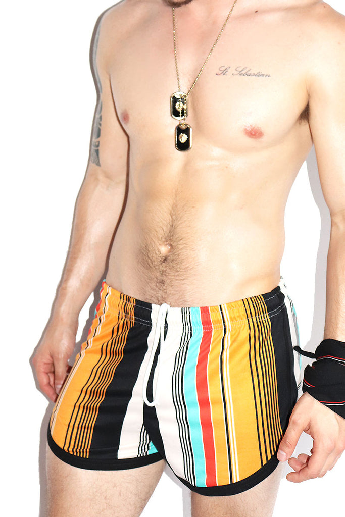 Fire Island Striped Running Shorts-Brown