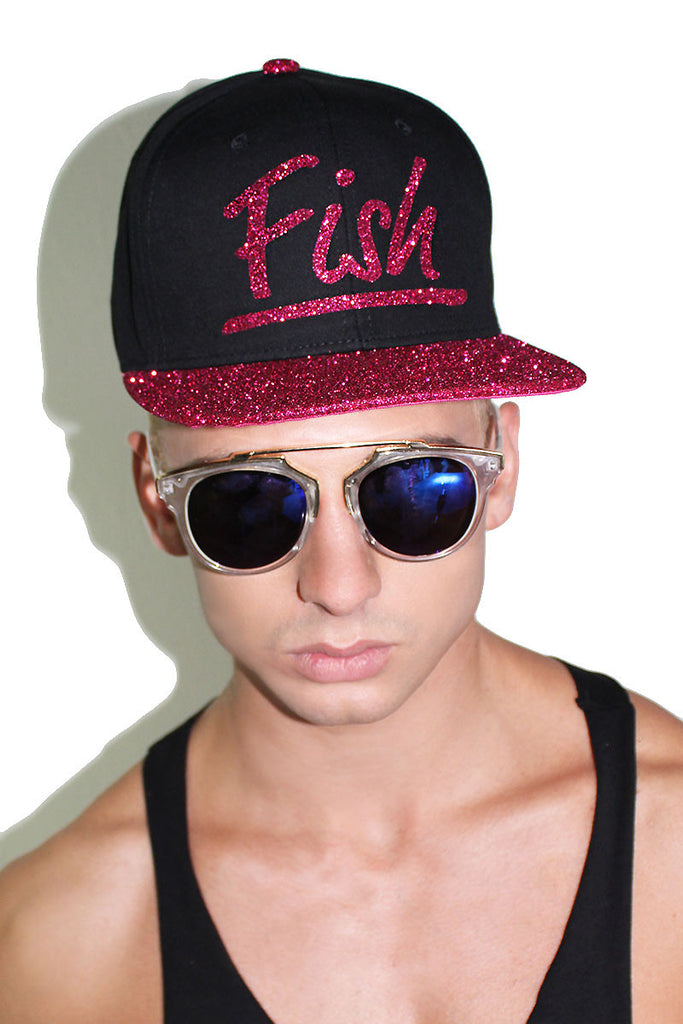 Fish Glitter Snap Back Hat- Pink