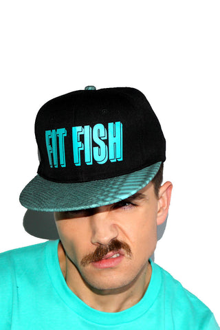Fit Fish Scale Snapback Hat-Turq