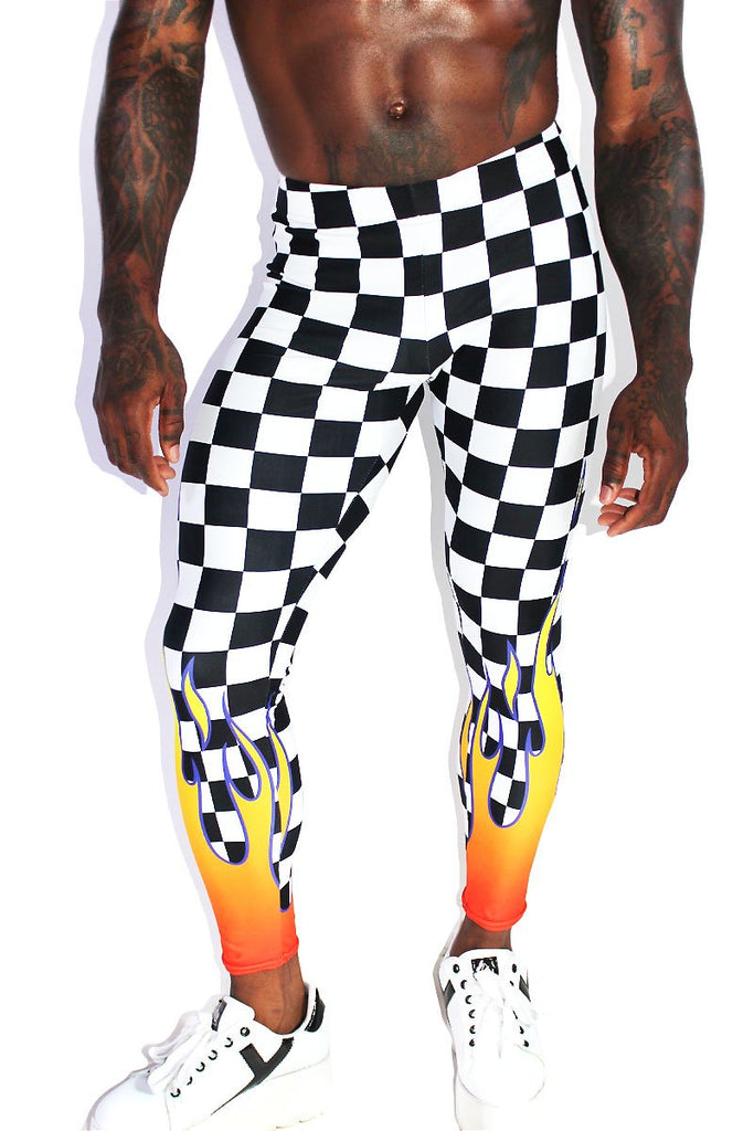 Checkerboard Flames Leggings Tights-Orange