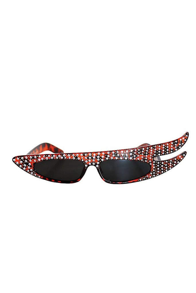Side Swipe Glam Rock Rhinestone Sunglasses-Tortise