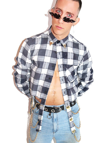 Rags to Riches Cutout Plaid Shirt- Blue