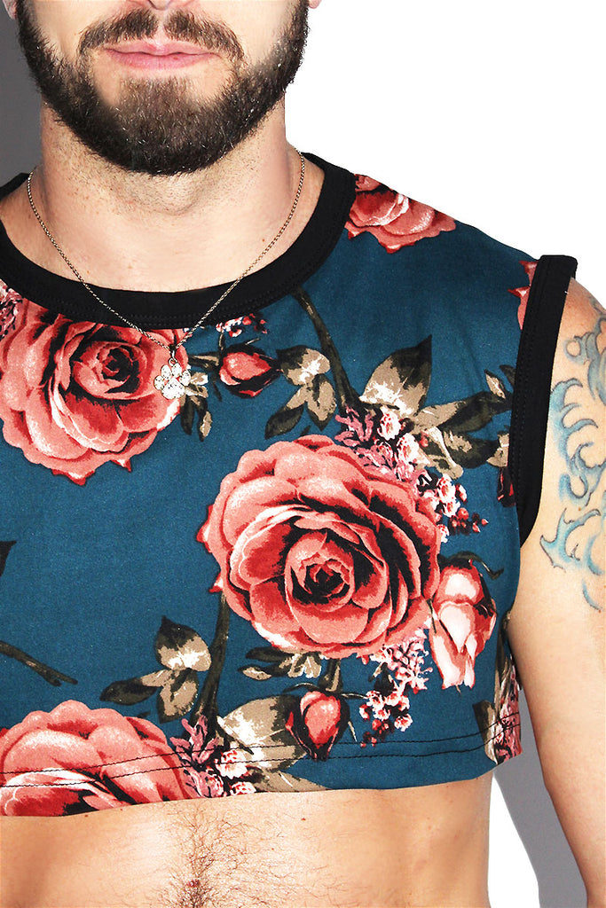 Floral Extreme Crop Tank-Navy