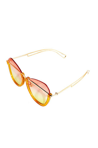 Foxy Gradient Top Rimless Sunglasses-Orange