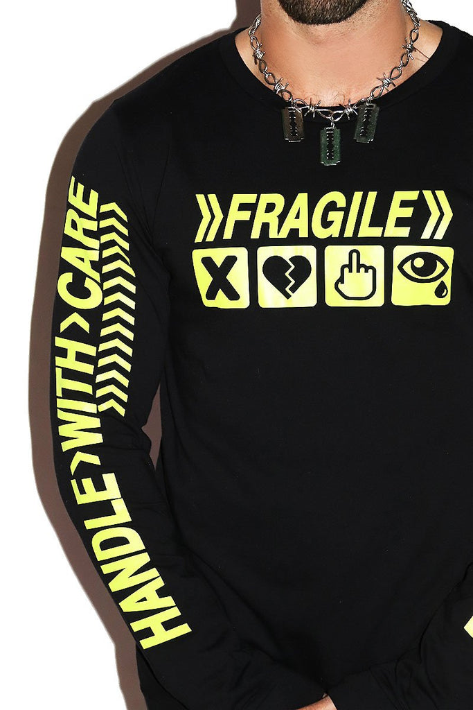 Handle With Care Long Sleeve Tee- Black