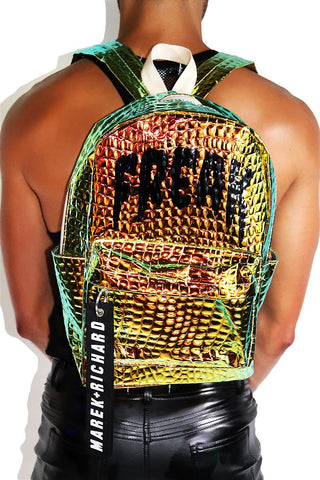 Freak Reptilian Embossed Backpack-Metallic Green