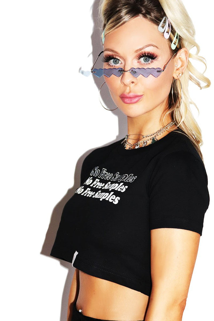 No Free Samples Fitted Crop Tee-Black