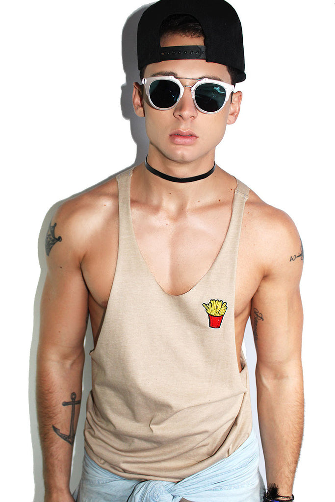 Fries String Tank-Nude