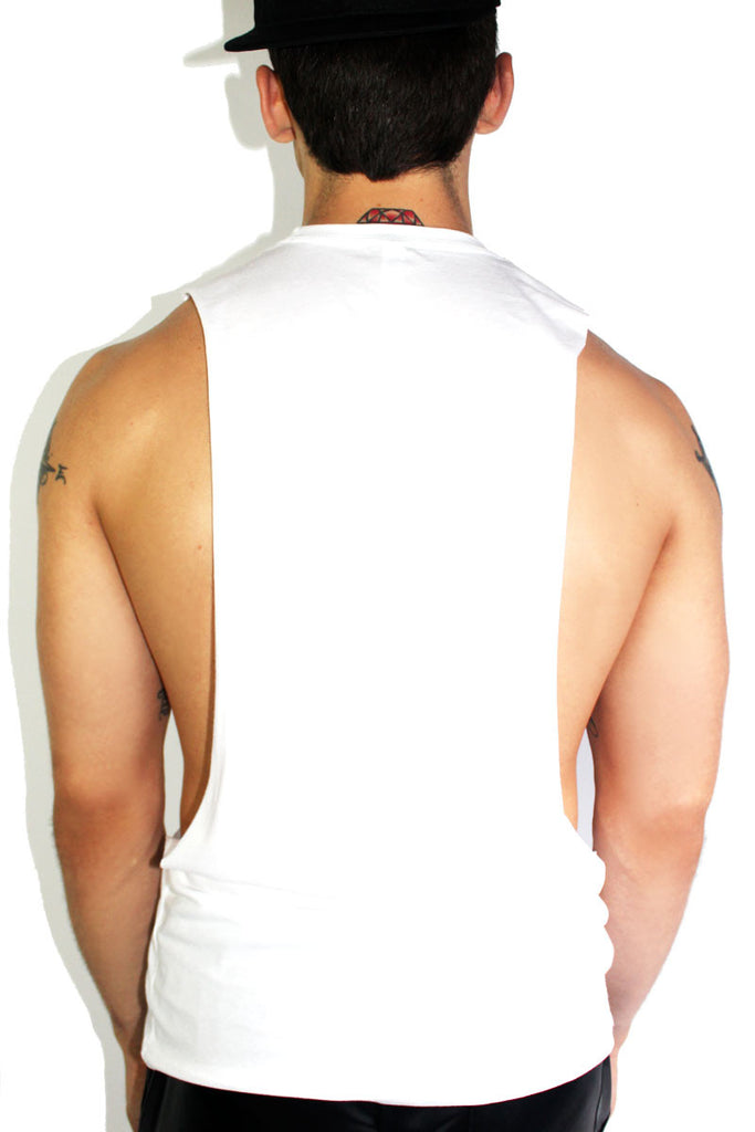 F Buddy Low Armhole Tank- White