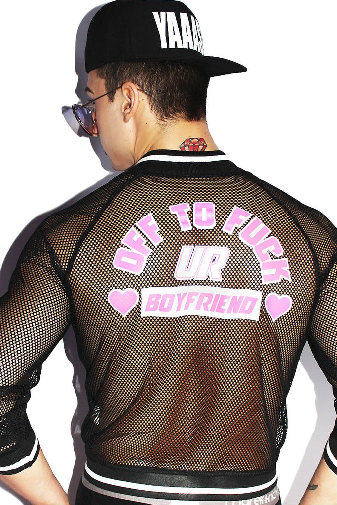 Off To Fuck Your Boyfriend Mesh Jacket-Black
