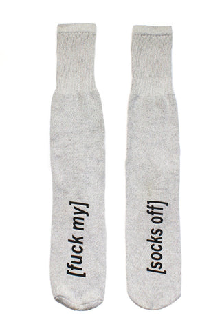 Fuck My Socks Off Knee Sport Socks-White