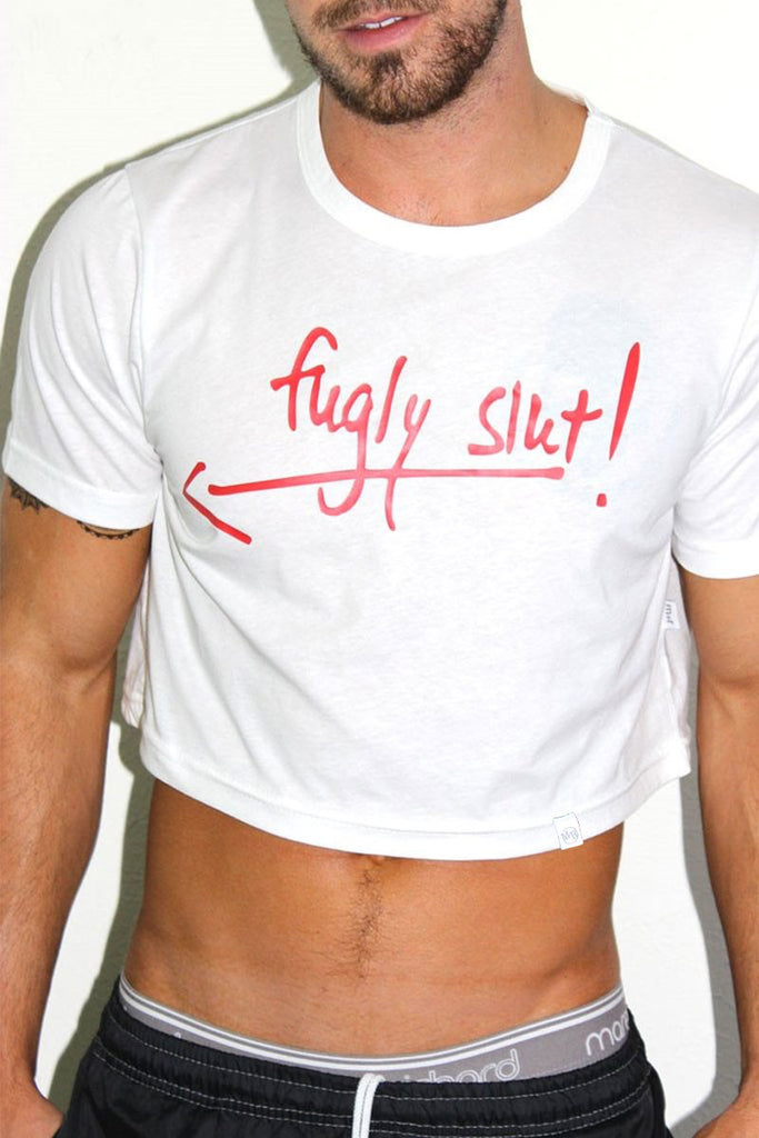 Fugly Slut Crop Tee-White