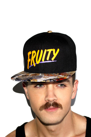 Fruity Floral Snapback Hat-Orange
