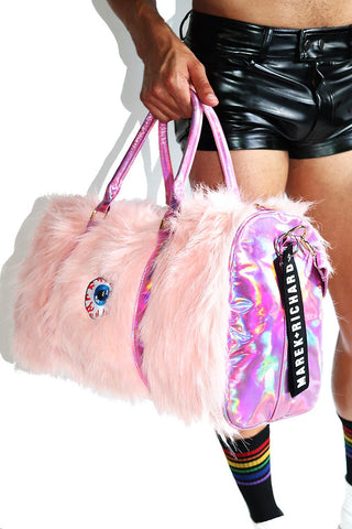 One Eyed Monster Furry Duffel Bag-Pink