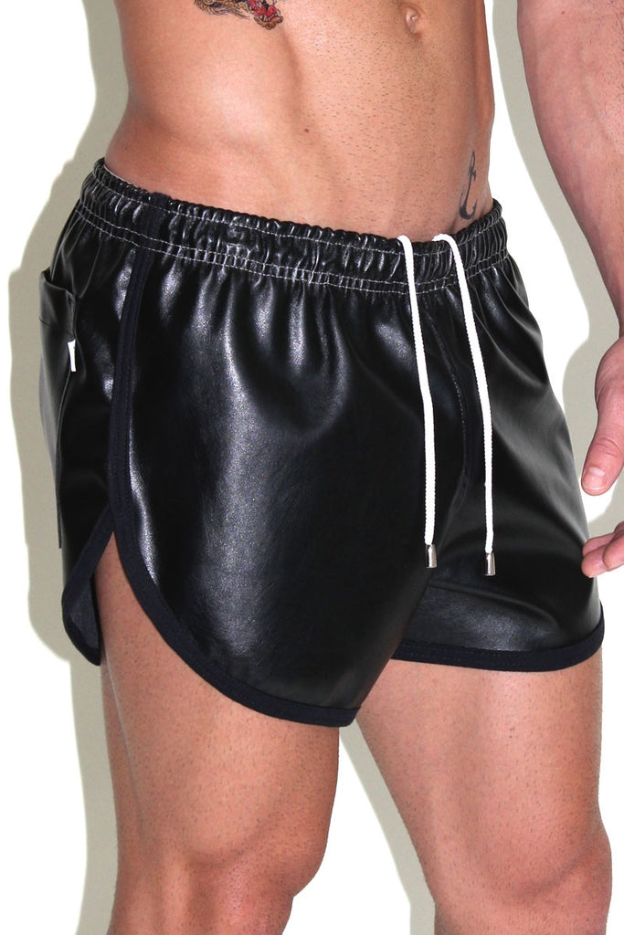 Vegan Running Leather Shorts-Black
