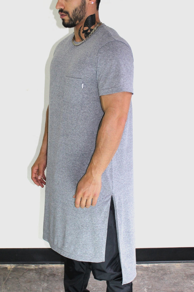 Extra Long Oversize Tee-Charcoal