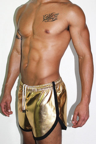 Gold Metallic Athletic Shorts- Gold