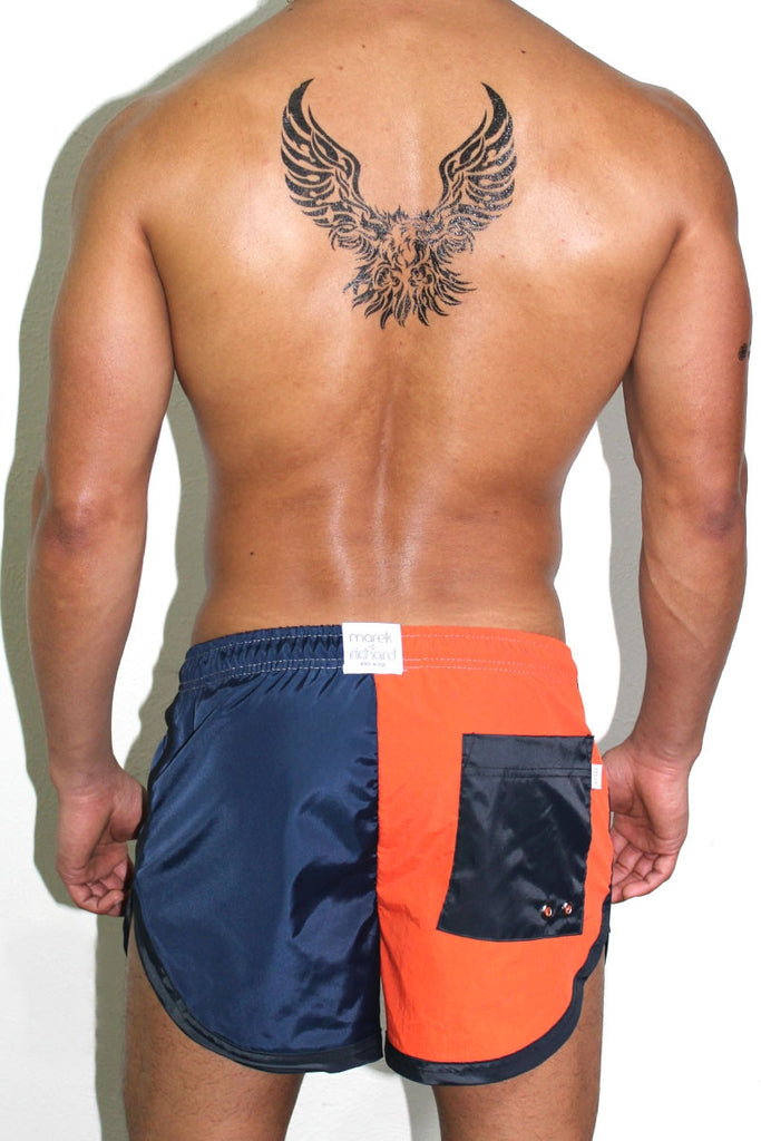 Split Board Short- Orange/Navy