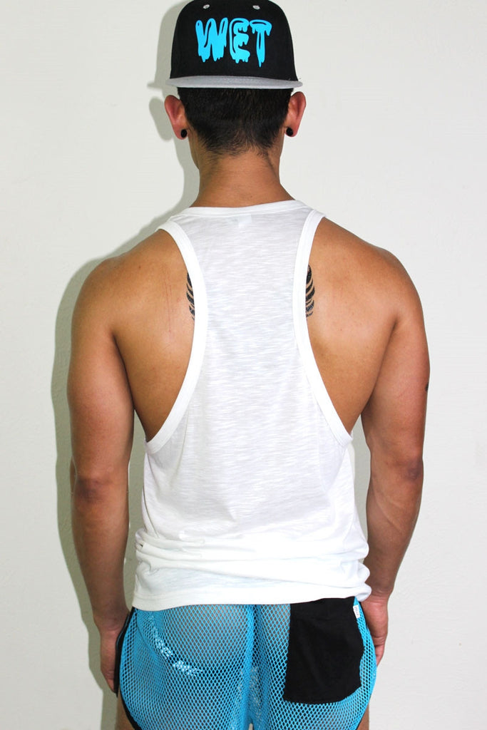 Moist Racer Back Tank- White