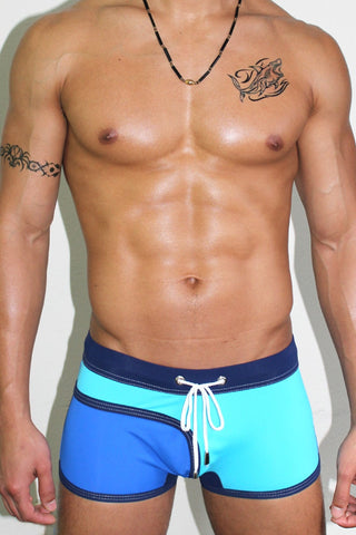 Get Wet Trunk Swimsuit- Tidal Wave