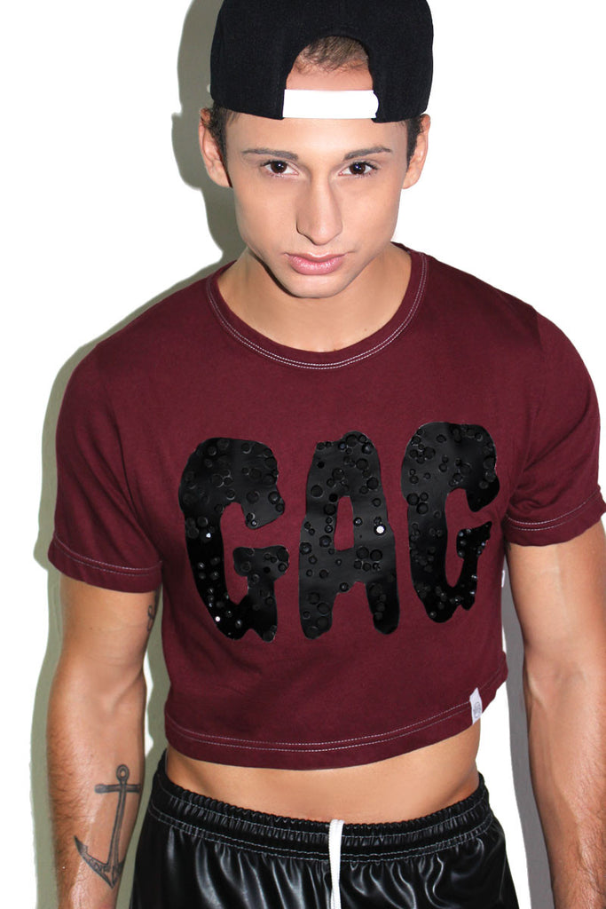 Gag Jeweled Crop Tee-Burgundy