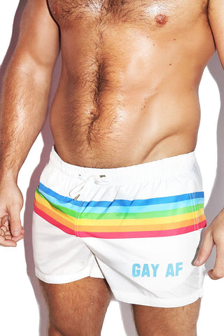 Gay AF Rainbow Board Shorts-White