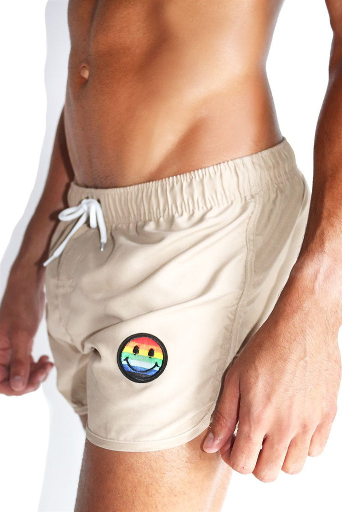 Gay Smiley Running Board Shorts-Tan