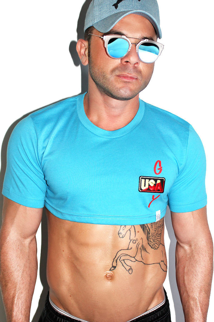 Gay USA Extreme Crop Tee-Blue
