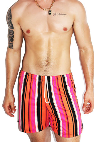 Hot Rod Split Color Althetic Shorts- Orange