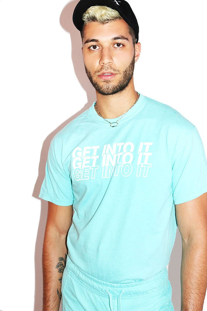 Get Into It Vintage Tee- Turquoise