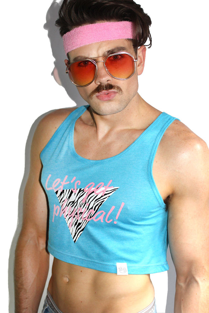 Let's Get Physical Crop Racerback Tank- Blue