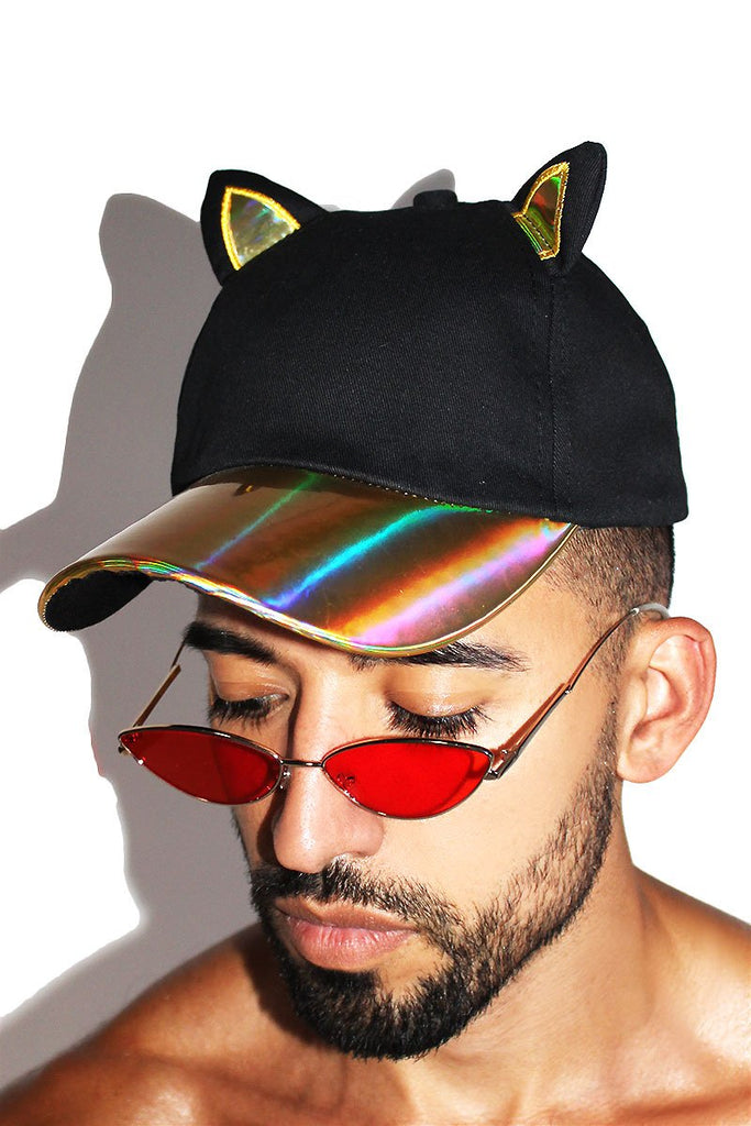 Cat Ears Holographic Dad Hat-Gold