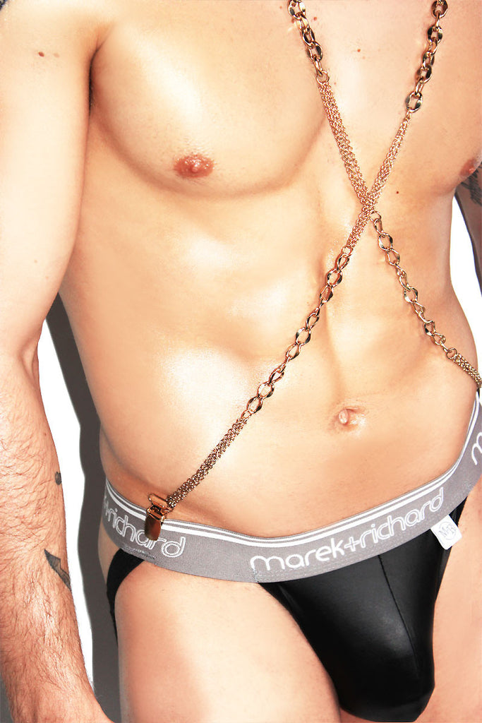 Metal Chain Suspenders Harness-Gold