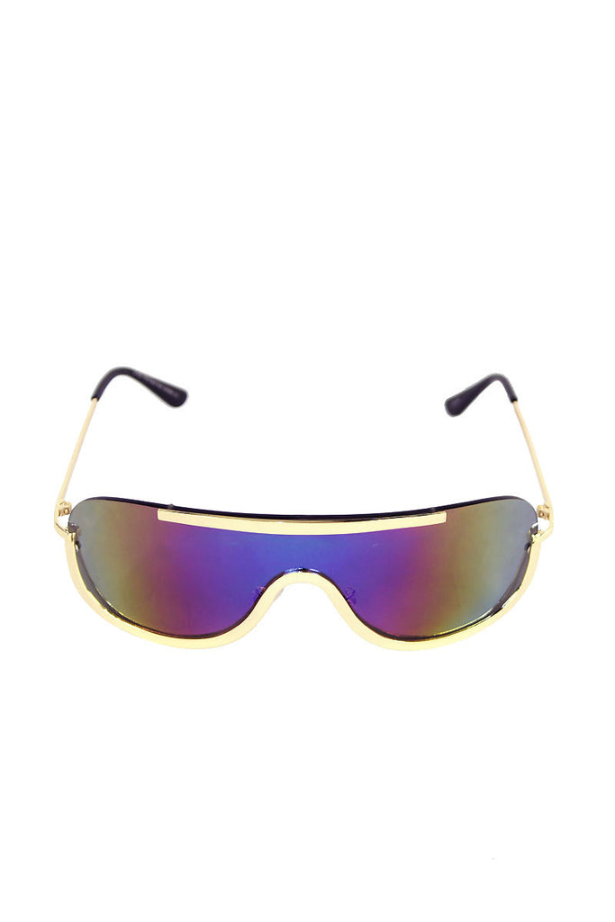 Shield Wrap Sunglasses-Gold