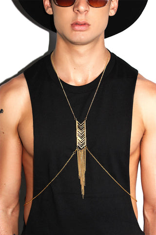 Chevron Thin Chain Harness-Gold