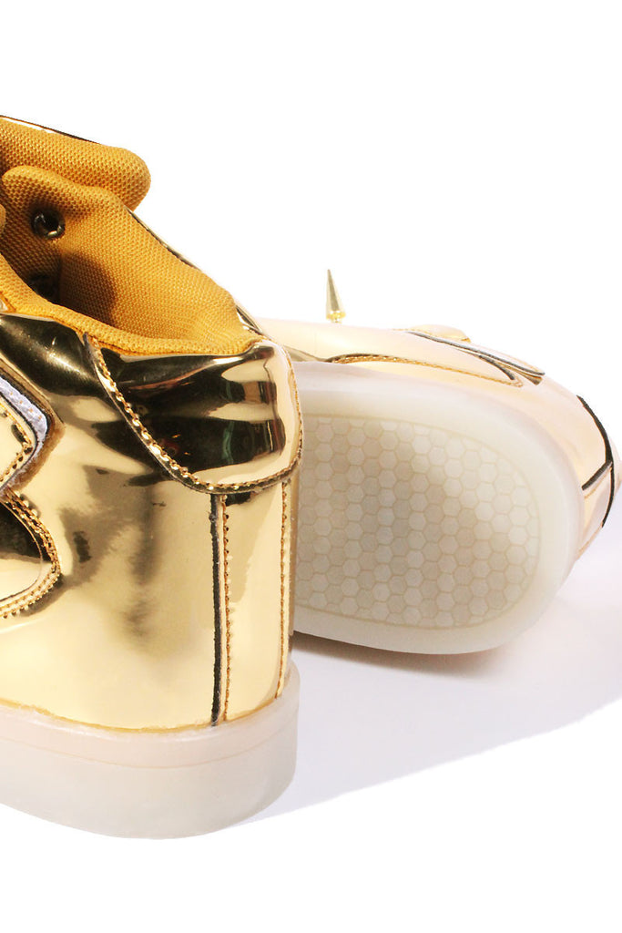 Spiked LED Light up Shoes- Gold
