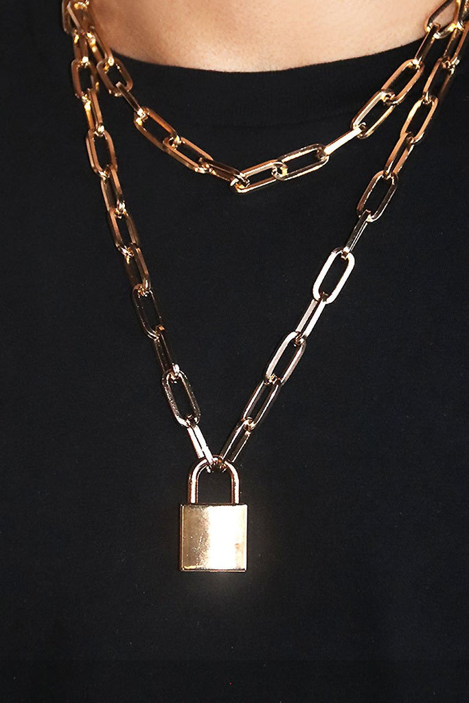 Lock Em Up Key Necklace - Gold