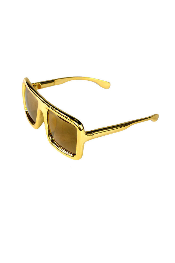 Square Oversized Large Sunglasses- Gold