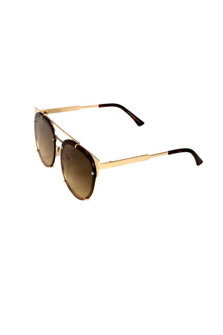 Flat Top Rim Sunglasses- Brown