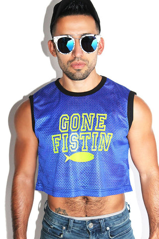 Gone Fistin Crop Tank-Royal
