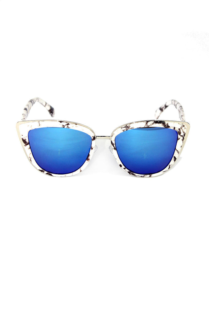Granite Cate Eye Caged Sunglasses- White
