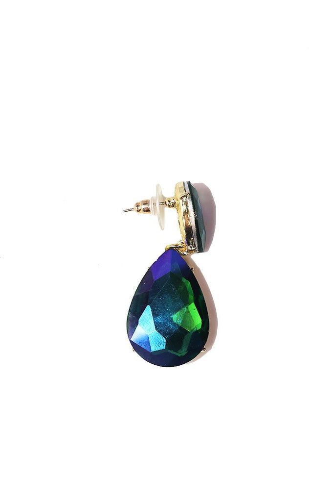 Scarab Tear Drop Gem Single Earring-Green