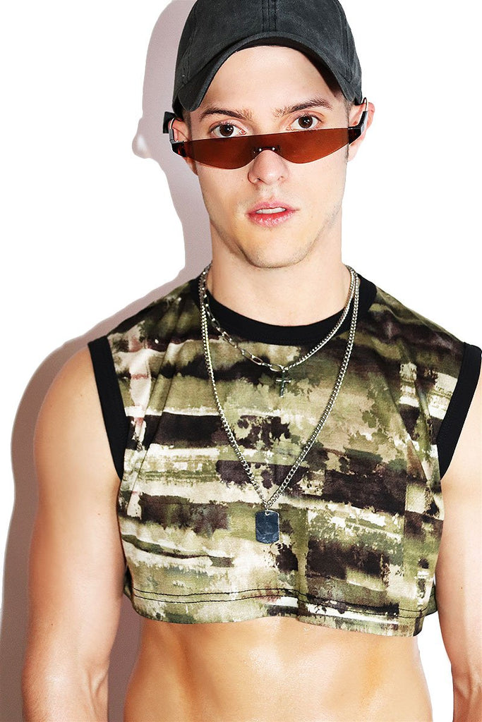 Watermark Extreme Crop Tank-Army
