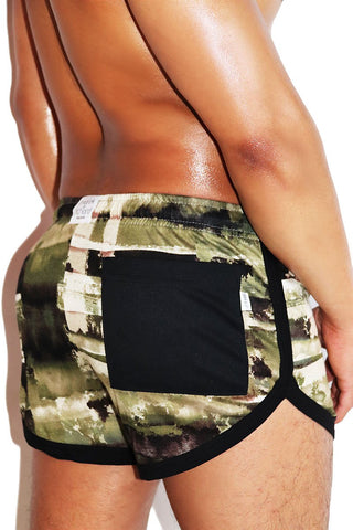 Watermark Running Shorts-Army